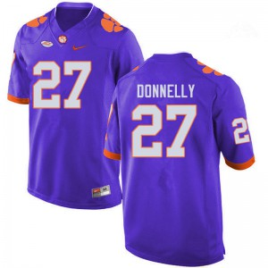 Mens NCAA #27 Carson Donnelly Clemson Tigers College Football Purple Jersey 770904-307