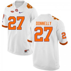 Mens NCAA #27 Carson Donnelly Clemson Tigers College Football White Jersey 690613-476