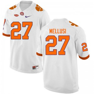 Mens NCAA #27 Chez Mellusi Clemson Tigers College Football White Jersey 237739-170
