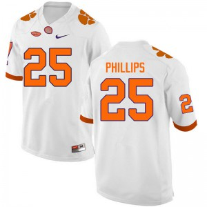 Mens NCAA #25 Jalyn Phillips Clemson Tigers College Football White Jersey 471180-685