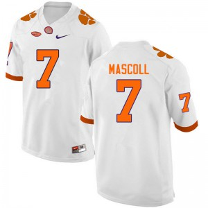 Mens NCAA #7 Justin Mascoll Clemson Tigers College Football White Jersey 165142-945