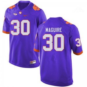 Mens NCAA #30 Keith Maguire Clemson Tigers College Football Purple Jersey 814159-501
