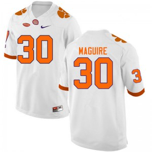 Mens NCAA #30 Keith Maguire Clemson Tigers College Football White Jersey 309798-686