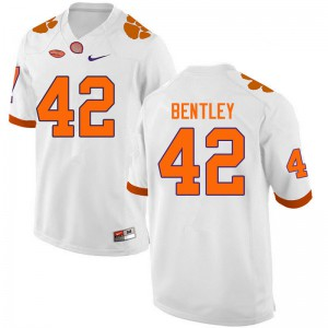 Mens NCAA #42 LaVonta Bentley Clemson Tigers College Football White Jersey 540526-273