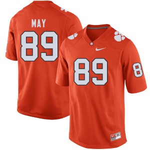 Mens NCAA #89 Max May Clemson Tigers College Football Orange Jersey 396508-412