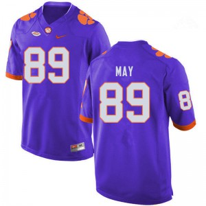 Mens NCAA #89 Max May Clemson Tigers College Football Purple Jersey 632644-389
