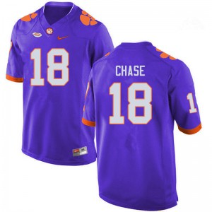Mens NCAA #18 T.J. Chase Clemson Tigers College Football Purple Jersey 616153-217