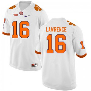 Mens NCAA #16 Trevor Lawrence Clemson Tigers College Football White Jersey 382856-573