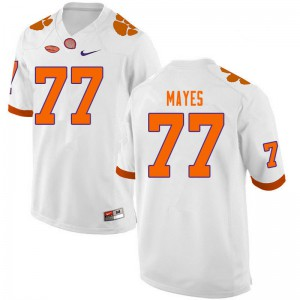 Mens NCAA #77 Mitchell Mayes Clemson Tigers College Football White Jersey 406140-647