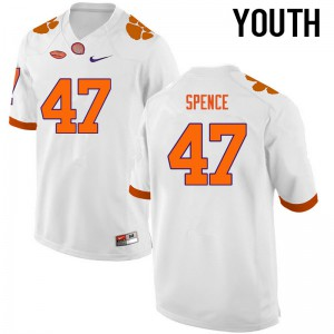 Youth NCAA Clemson Tigers #47 Alex Spence College Football White Jersey 886655-655