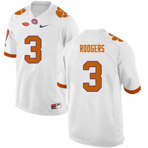Mens NCAA #3 Amari Rodgers Clemson Tigers College Football White Jersey 114833-327
