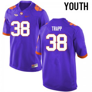 Youth NCAA Clemson Tigers #38 Amir Trapp College Football Purple Jersey 558754-142