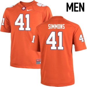 Mens NCAA Clemson Tigers #41 Anthony Simmons College Football Orange Jersey 494828-319