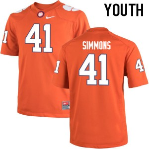 Youth NCAA Clemson Tigers #41 Anthony Simmons College Football Orange Jersey 769135-624