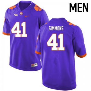 Mens NCAA Clemson Tigers #41 Anthony Simmons College Football Purple Jersey 636945-881