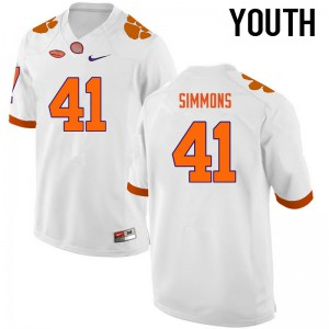 Youth NCAA Clemson Tigers #41 Anthony Simmons College Football White Jersey 214747-533