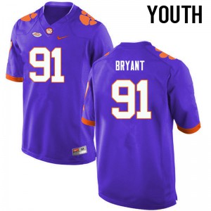 Youth NCAA Clemson Tigers #91 Austin Bryant College Football Purple Jersey 538434-120