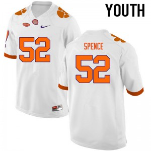 Youth NCAA Clemson Tigers #52 Austin Spence College Football White Jersey 700079-575