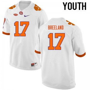 Youth NCAA Clemson Tigers #17 Bashaud Breeland College Football White Jersey 255289-886