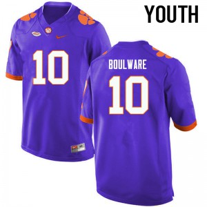 Youth NCAA Clemson Tigers #10 Ben Boulware College Football Purple Jersey 994421-686