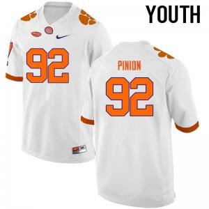 Youth NCAA Clemson Tigers #92 Bradley Pinion College Football White Jersey 341714-538