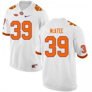 Mens NCAA #39 Bubba McAtee Clemson Tigers College Football White Jersey 960380-119