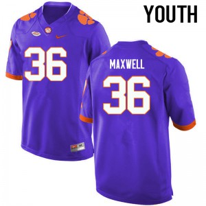 Youth NCAA Clemson Tigers #36 Byron Maxwell College Football Purple Jersey 535924-572