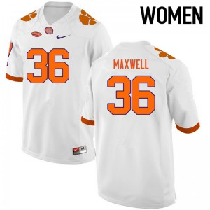 Women's NCAA Clemson Tigers #36 Byron Maxwell College Football White Jersey 498275-363