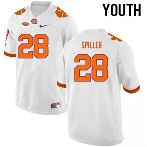 Youth NCAA Clemson Tigers #28 CJ Spiller College Football White Jersey 566304-211