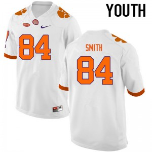 Youth NCAA Clemson Tigers #84 Cannon Smith College Football White Jersey 181778-604