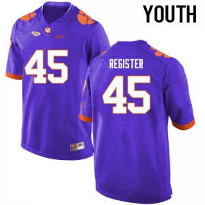 Youth NCAA Clemson Tigers #45 Chris Register College Football Purple Jersey 461332-495