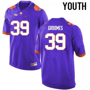 Youth NCAA Clemson Tigers #39 Christian Groomes College Football Purple Jersey 816110-688