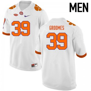 Mens NCAA Clemson Tigers #39 Christian Groomes College Football White Jersey 888506-171