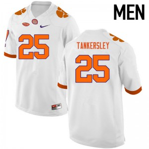 Mens NCAA Clemson Tigers #25 Cordrea Tankersley College Football White Jersey 415934-710
