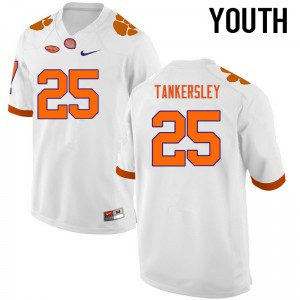 Youth NCAA Clemson Tigers #25 Cordrea Tankersley College Football White Jersey 649526-361
