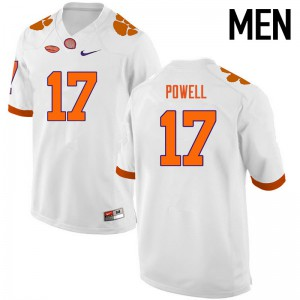 Mens NCAA Clemson Tigers #17 Cornell Powell College Football White Jersey 125119-217