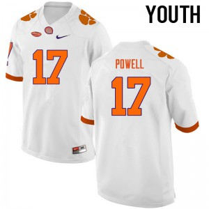 Youth NCAA Clemson Tigers #17 Cornell Powell College Football White Jersey 871704-731