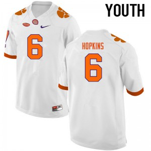 Youth NCAA Clemson Tigers #6 DeAndre Hopkins College Football White Jersey 543962-129