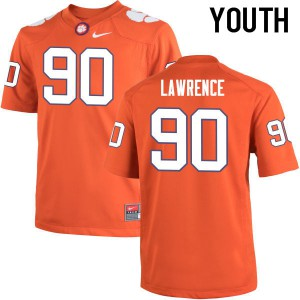 Youth NCAA Clemson Tigers #90 Dexter Lawrence College Football Orange Jersey 957708-428