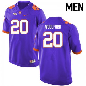 Mens NCAA Clemson Tigers #20 Donnell Woolford College Football Purple Jersey 358993-782