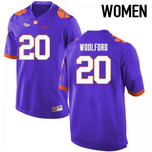 Women's NCAA Clemson Tigers #20 Donnell Woolford College Football Purple Jersey 224291-488