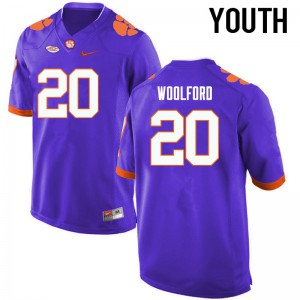 Youth NCAA Clemson Tigers #20 Donnell Woolford College Football Purple Jersey 598378-577
