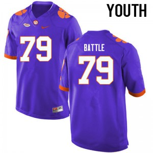 Youth NCAA Clemson Tigers #79 Isaiah Battle College Football Purple Jersey 903312-818