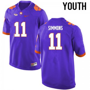 Youth NCAA Clemson Tigers #11 Isaiah Simmons College Football Purple Jersey 409795-320