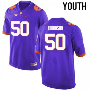 Youth NCAA Clemson Tigers #50 Jabril Robinson College Football Purple Jersey 336326-645