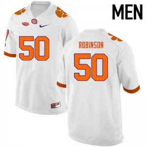 Mens NCAA Clemson Tigers #50 Jabril Robinson College Football White Jersey 487276-972