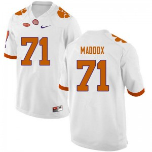 Mens NCAA #71 Jack Maddox Clemson Tigers College Football White Jersey 772917-649