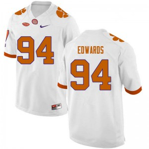 Mens NCAA #94 Jacob Edwards Clemson Tigers College Football White Jersey 236555-123