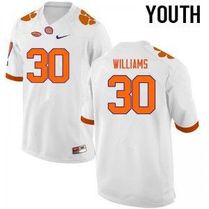 Youth NCAA Clemson Tigers #30 Jalen Williams College Football White Jersey 401787-786