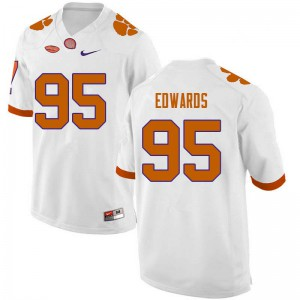 Mens NCAA #95 James Edwards Clemson Tigers College Football White Jersey 924109-367